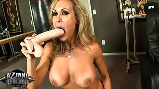 Sexy boxer playing with dildo in gym - MILF pornstar Brandi love solo