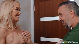 Keiran Lee touches big fake boobs of hot MILF Brandi Love