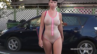 Naughty Russian Exhibitionist Outdoors relating to White swinsuit - Milf