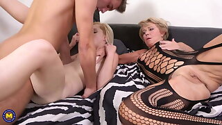 Mature hot wife joins young couple