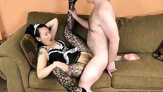 Naughty Chinese maid Zoe Lark is getting laid