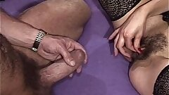Pest Fingered Brunette Mature In Laced Stockings