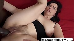 Grown-up with natural tits gets a creampie in the brush hairy pussy!