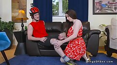 Biker bangs beamy chest Milf at her home