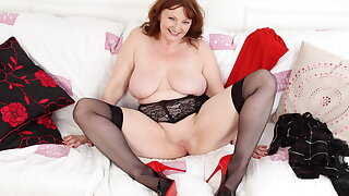 Buxom gilf Lady Ava shows you her big boobs increased by fine fanny
