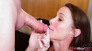 Hot Brunette Sofie Marie Swallowing Thick Horseshit On Her Knees