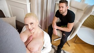HUNT4K. Man admires how busty beauty makes hunter cum on tits