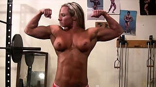 Topless Female Bodybuilder With Amazing Bod in the Gym