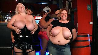Watch very hot contrive bbw ensemble in the bar