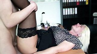 German Mature Seduce Young Guy to Fuck at job interview
