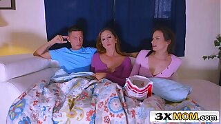 Latina MILF Joins Her Stepdaughter Alexis Deen and Her BF for a Movie Night Dealings