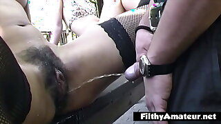 Crazy alfresco orgy with pissing overhead pussy